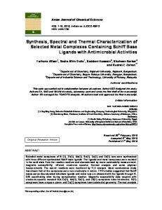 Synthesis, Spectral and Thermal Characterization of