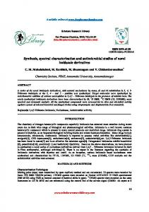 Synthesis, spectral characterization and antimicrobial studies of novel ...