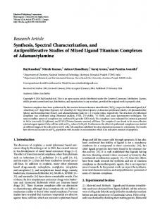 Synthesis, Spectral Characterization, and Antiproliferative Studies of
