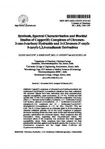 Synthesis, Spectral Characterization and Biocidal ...