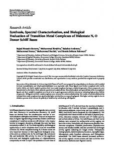 Synthesis, Spectral Characterization, and Biological Evaluation of