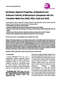Synthesis, Spectral Properties, Antibacterial and Antitumor Activity of ...