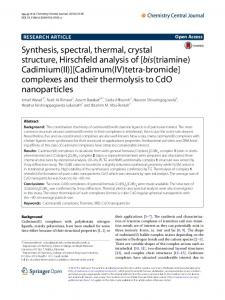 Synthesis, spectral, thermal, crystal structure, Hirschfeld analysis of ...