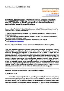 Synthesis, Spectroscopic, Physicochemical, Crystal Structure and DFT ...