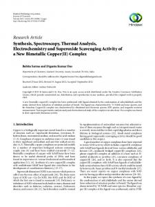 Synthesis, Spectroscopy, Thermal Analysis, Electrochemistry and ...