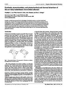 Synthesis, stereochemistry, and photochemical and