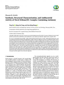 Synthesis, Structural Characterization, and Antibacterial Activity of ...