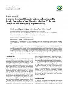 Synthesis, Structural Characterization, and Antimicrobial Activity