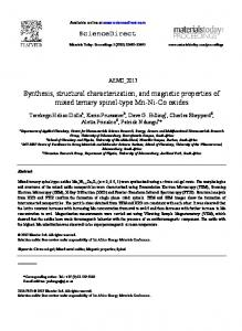 Synthesis, structural characterization, and magnetic