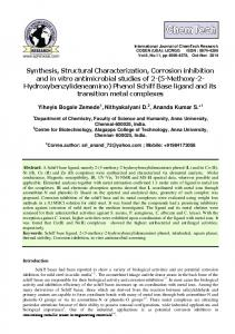 Synthesis, Structural Characterization, Corrosion inhibition and in vitro