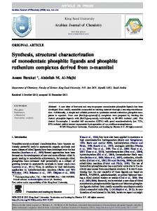 Synthesis, structural characterization of monodentate