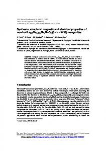 Synthesis, structural, magnetic and electrical properties of ... - EPJ WOC
