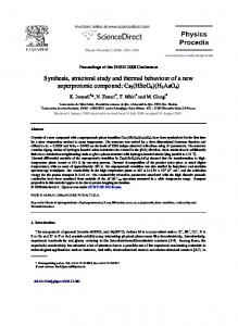 Synthesis, structural study and thermal behaviour of a