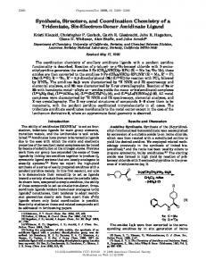 Synthesis, Structure, and Coordination Chemistry ... - ACS Publications