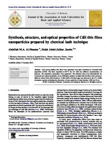 Synthesis, structure, and optical properties of CdS thin ... - CyberLeninka