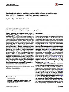 Synthesis, structure, and thermal stability of new