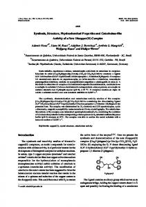Synthesis, Structure, Physicochemical Properties