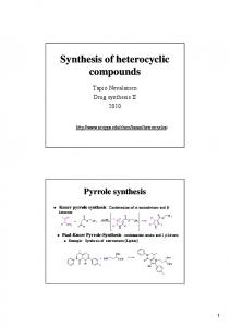 Synthesis Synthesis of heterocyclic heterocyclic compounds