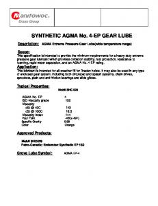 SYNTHETIC AGMA No. 4-EP GEAR LUBE - Manitowoc Cranes