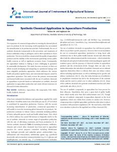 Synthetic Chemical Application in Aquaculture ... - Bioaccent Group
