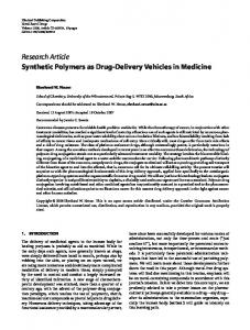 Synthetic Polymers as Drug-Delivery Vehicles in