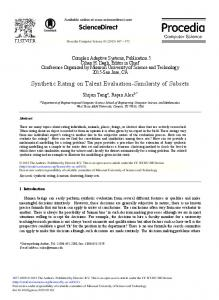 Synthetic Rating on Talent Evaluation-Similarity of ... - Science Direct