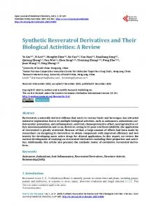 Synthetic Resveratrol Derivatives and Their Biological Activities: A ...