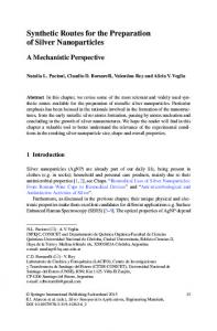 Synthetic Routes for the Preparation of Silver Nanoparticles - Springer