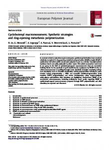 Synthetic strategies and ring-opening metathesis ...