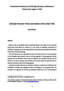 Syntropic Economic Theory and Solution of the Global Crisis