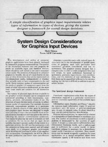 System Design Considerations for Graphics Input Devices