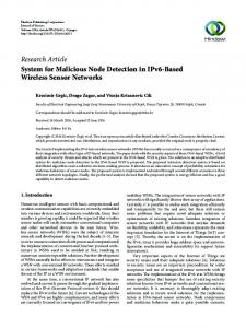 System for Malicious Node Detection in IPv6-Based Wireless Sensor ...