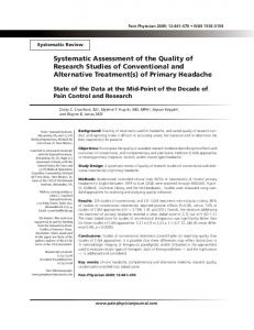 Systematic Assessment of the Quality of Research ... - Pain Physician