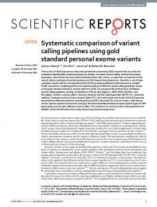 Systematic comparison of variant calling pipelines ... - Marcotte Lab