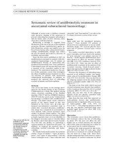Systematic review of antifibrinolytic treatment in aneurysmal ...