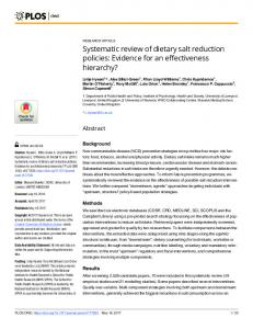 Systematic review of dietary salt reduction policies: Evidence ... - PLOS