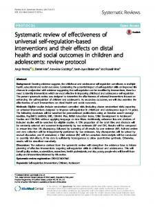 Systematic review of effectiveness of universal ... - Systematic Reviews