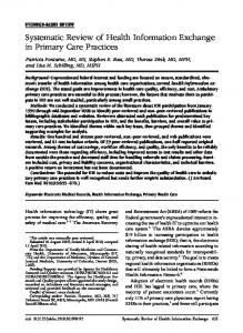 Systematic Review of Health Information Exchange in Primary Care ...