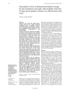 Systematic review of immunomodulatory drugs for the treatment of ...