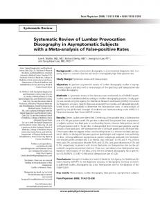 Systematic Review of Lumbar Provocation ... - Pain Physician
