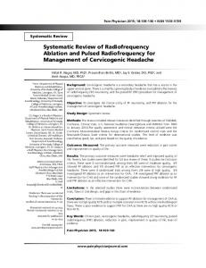 Systematic Review of Radiofrequency Ablation