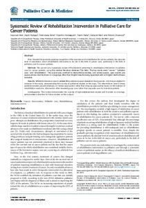 Systematic Review of Rehabilitation Intervention in Palliative Care for ...