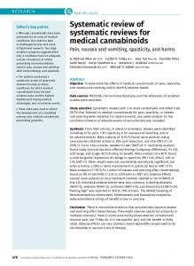 Systematic review of systematic reviews for medical cannabinoids