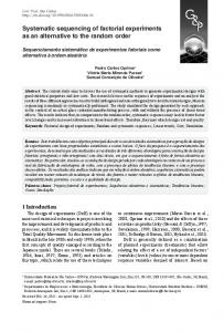 Systematic sequencing of factorial experiments as an ... - Scielo.br