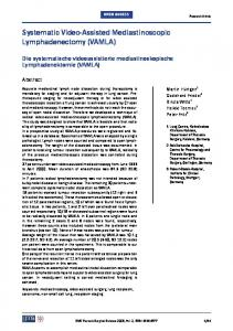Systematic Video-Assisted Mediastinoscopic ... - ScienceOpen