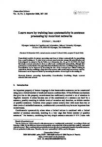 systematicity in sentence processing by recurrent ... - Stefan Frank
