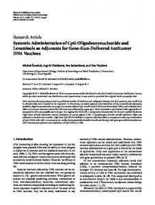 Systemic Administration of CpG Oligodeoxynucleotide and