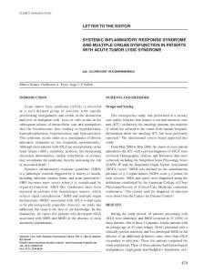 Systemic inflammatory response syndrome and multiple organ ...