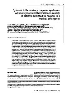Systemic inflammatory response syndrome without ... - Semantic Scholar