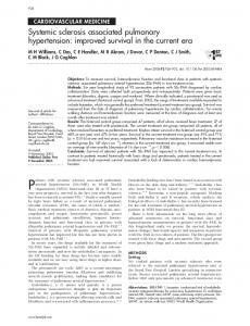 Systemic sclerosis associated pulmonary hypertension: improved ...